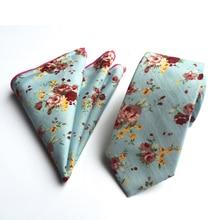 Fashion Floral Handkerchief and Tie Set for Wedding Party Men Paisley Cotton Handkerchief Tie Sets 10 Colors for Choose