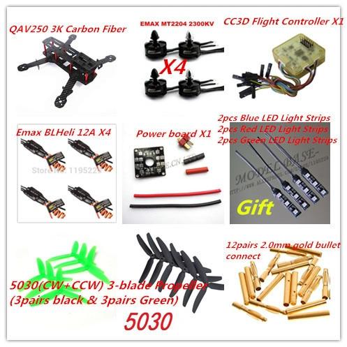 New CF QAV250 DIY Quadcopter Multirotor Kit&Emax MT2204 Brushless Motor&BLHeli 12A ESC&CC3D&6pairs Prop&Gift 12V LED Light Strip  high quality hexacopter emax mt2216 810kv 200w clockwise brushless motor for multirotor quadcopter