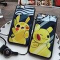 Para iphone 5s 6 6 s 7 más lindo de dibujos animados pokemon pikachue de silicona suave cubierta del teléfono correa para el cuello case pocket monsters Coque