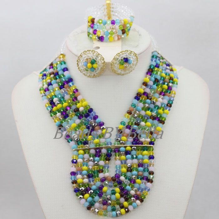 Colourful Crystal Bridal Jewelry Sets Necklace African Wedding ...