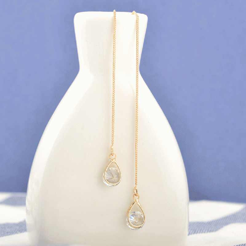 Oro nuevo Color plata gota larga borla de diamantes de imitación cuelga los pendientes de la boda de las mujeres que Earing joyería de cristal brillante de moda
