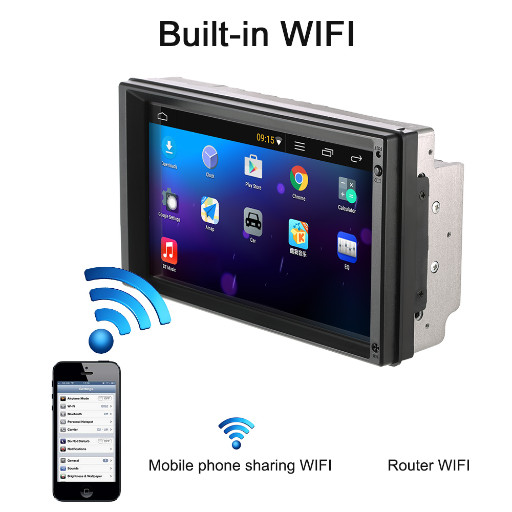 """Autoradio Cassette Recorder Automagnitola 2 Din Android 5.1 Car Radio Player 7"""" Universal WIFI GPS Navigation Car MP5 Player"""