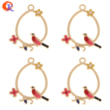 Cordial Design 20Pcs 31*40MM Jewelry Accessories/Hand Made/Gold Oval Connectors With Color Bird/Zinc Alloy/DIY/Earring Findings