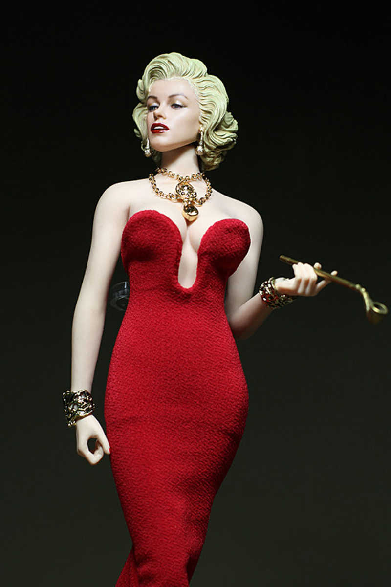 b83846fc61 DIY 1:6 scale female girl young lady woman clothes Marilyn Monroe red dress  version for 12