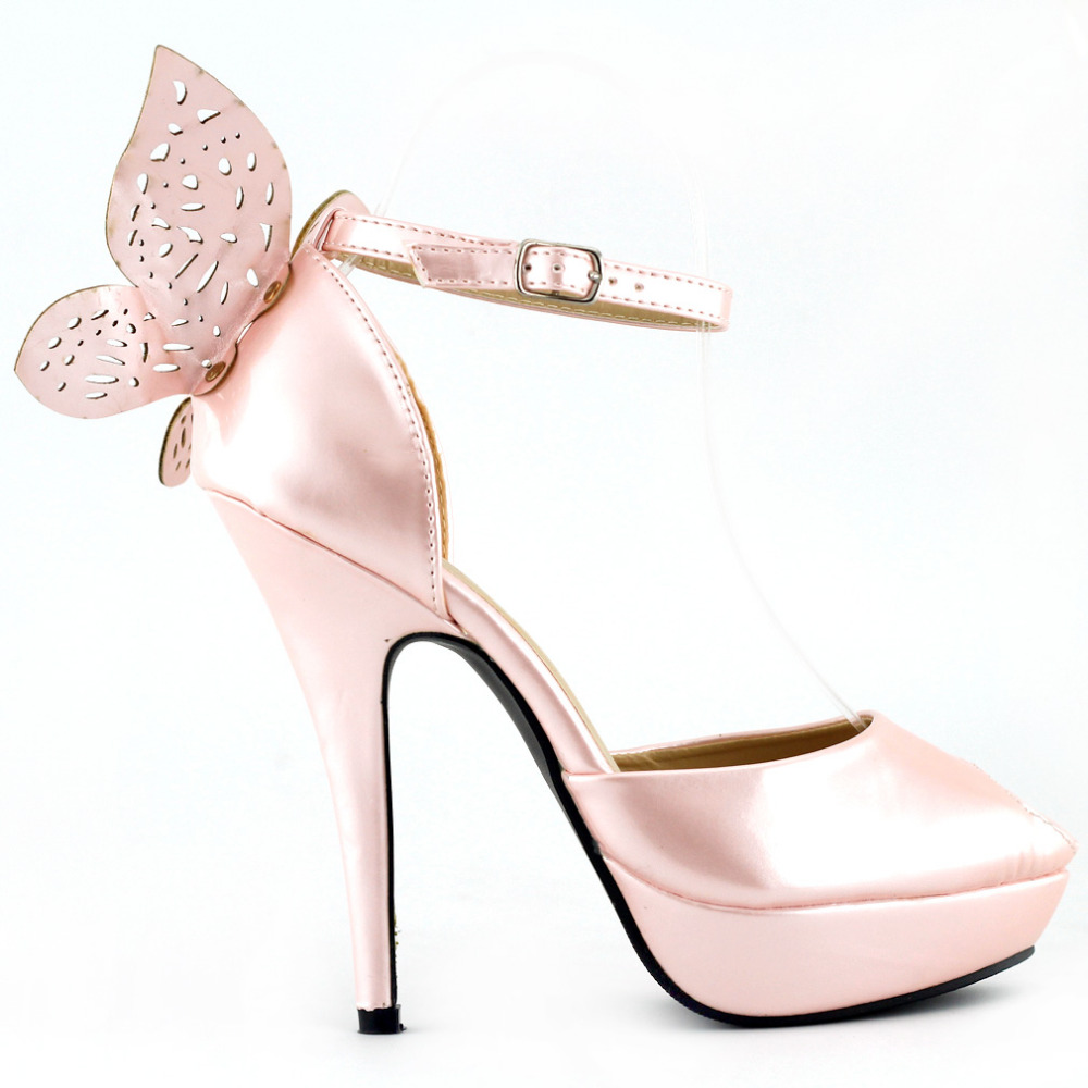 LF30453 Baby Pink/Blue Butterfly Peep Toe Ankle Strap Wedding Pumps Size mld lf 1127 ankle supports