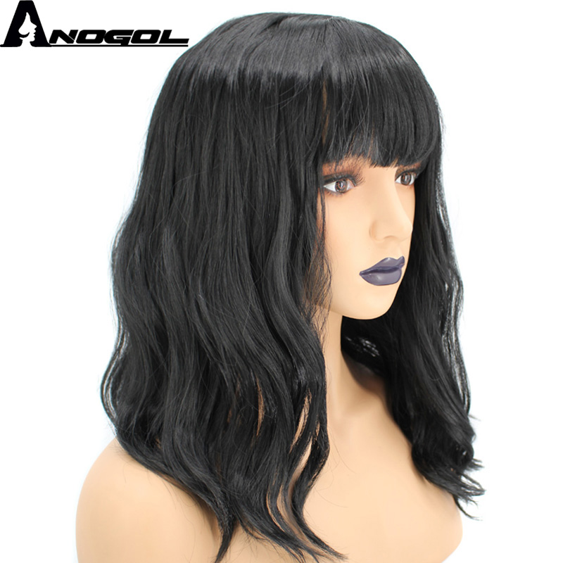 Anogol High Temperature Fiber Long Natural Wave Black Synthetic Wig For Women With Flat Bangs ...