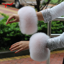 2018 Genuine Fox Fur Arm Warmer Lady Bracelet Real Wristband Glove Raccoon fur Cuffs