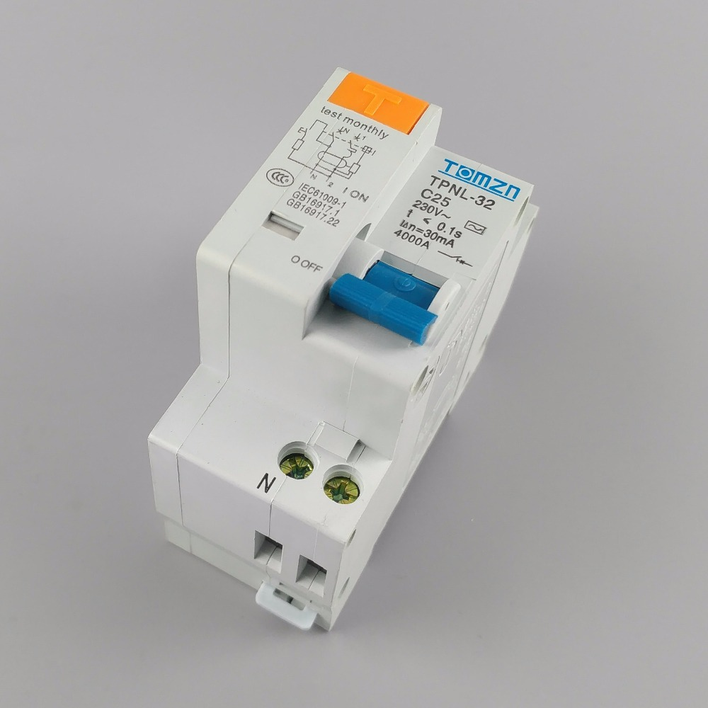 TPNL DPNL 230V 1P+N Residual current Circuit breaker with over and short current  Leakage protection RCBO MCB 4