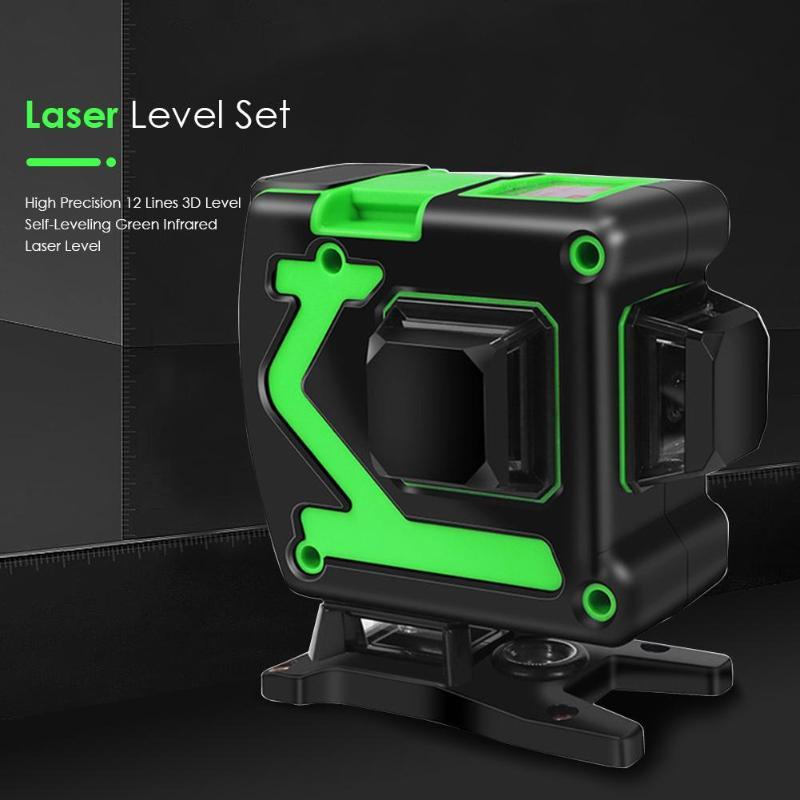 12 Lines 3D High Precision Laser Level Instrument Self Leveling 360 Horizontal Vertical Cross Green Laser Level Measuring Tools Laser Levels     - title=
