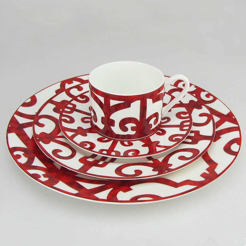 Dîner plaque ensemble porcelaine Plaques dîner ensemble café tasse Vaisselle ensemble plateau décoration