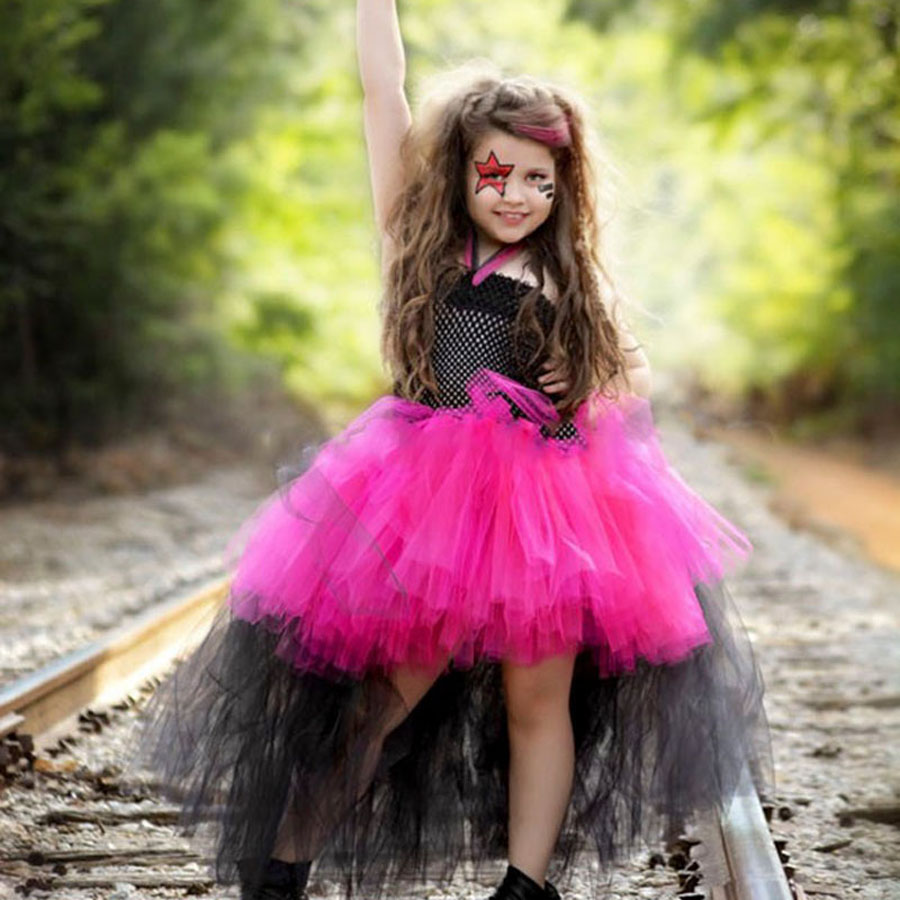 Rockstar Queen Tutu Dress Girl Birthday Party Outfit for Photo Prop Halloween Costume Kids Tutu Dress TS083 1set baby girl polka dot headband romper tutu outfit party birthday costume 6 colors