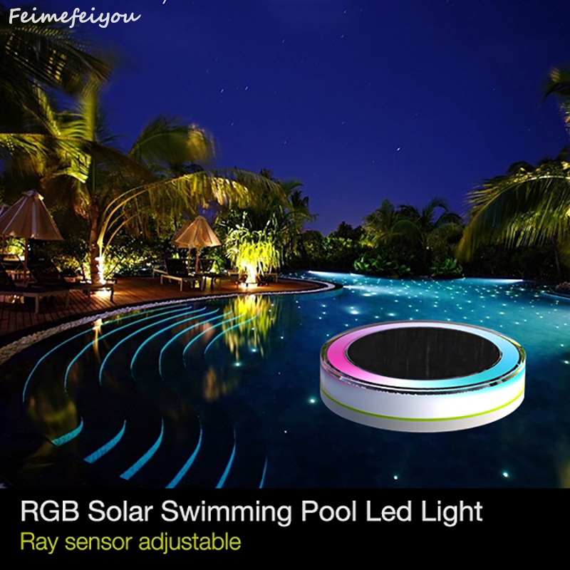 Feimefeiyou RGB Remote Control Solar Power LED Colorful Swimming Pool Light Garden Waterproof Floating Lamp IP68 camping outdoor topfund yellow frosted quartz crystal singing bowl 432hz tuned e solar plexus chakra 10 with free mallet and o ring