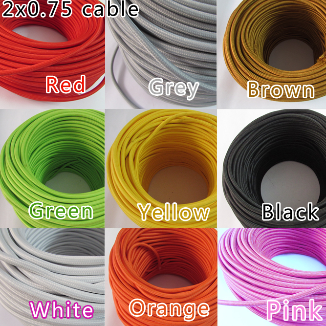 10m lot color wire lamp cable retro braided. Black Bedroom Furniture Sets. Home Design Ideas