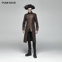 PUNK RAVE Men Steampunk Mid length Jacket Coat Gothic Fashion Men Party Dust Coat Stage Perform Male Cool Jacket