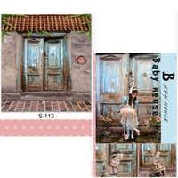 DAWNKNOW rétro porte vinyle photographie fond pour enfants pierre sol Polyester toile de fond pour bébé Photo Studio S113