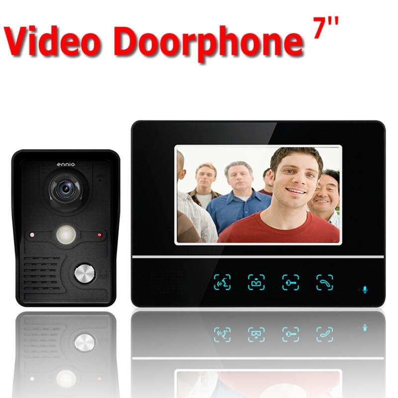 7 дюймов TFT сенсорный экран Цвет ЖК дисплей видео телефон двери Проводная видеодомофон 1 монитор дверной звонок Домофон системы