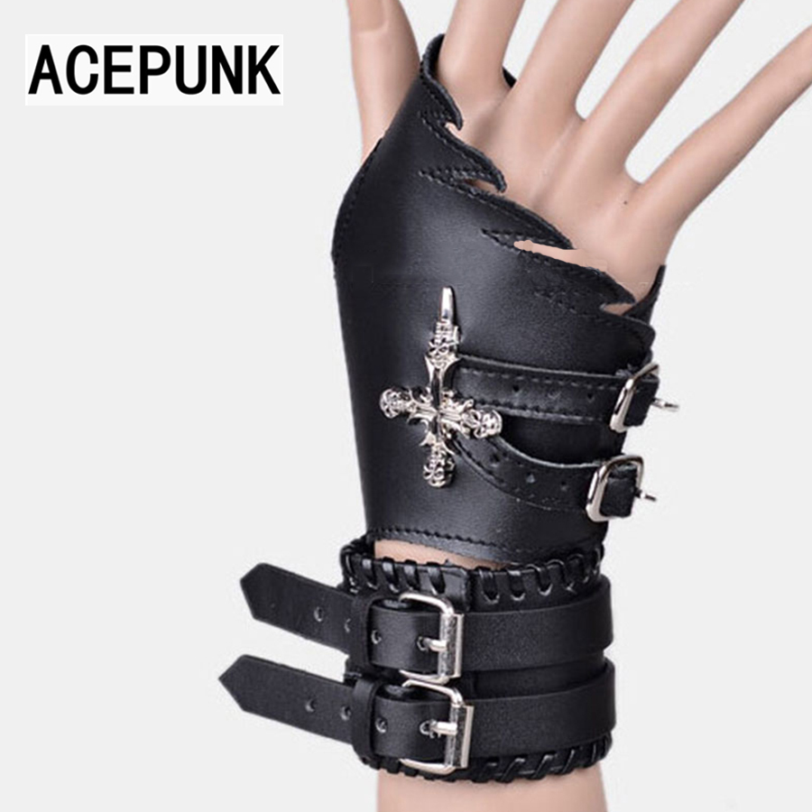 цена 2018 New Fashion Cool Man Punk Bracelet Gloves Set Night Club Bracer Set Leather Cross Bracelet Men Buckle Pulseira Masculina