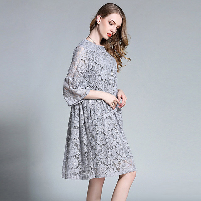 Willstage 2018 Spring Women Plus Size Black Lace Dress Hollow Out Oversize  Dresses Elegant O-Neck XXXXL Pregnant Clothing large 5527547ee18d