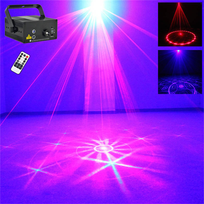 AUCD Mini Remote Sound 24 Patterns RB Laser Effect Projector 3W Blue LED Mixing Effect DJ KTV Party Stage Lighting Z24RB aucd mini remote 24 patterns rg red green laser effect projector 3w blue led light dj home party wedding stage lighting z24rg