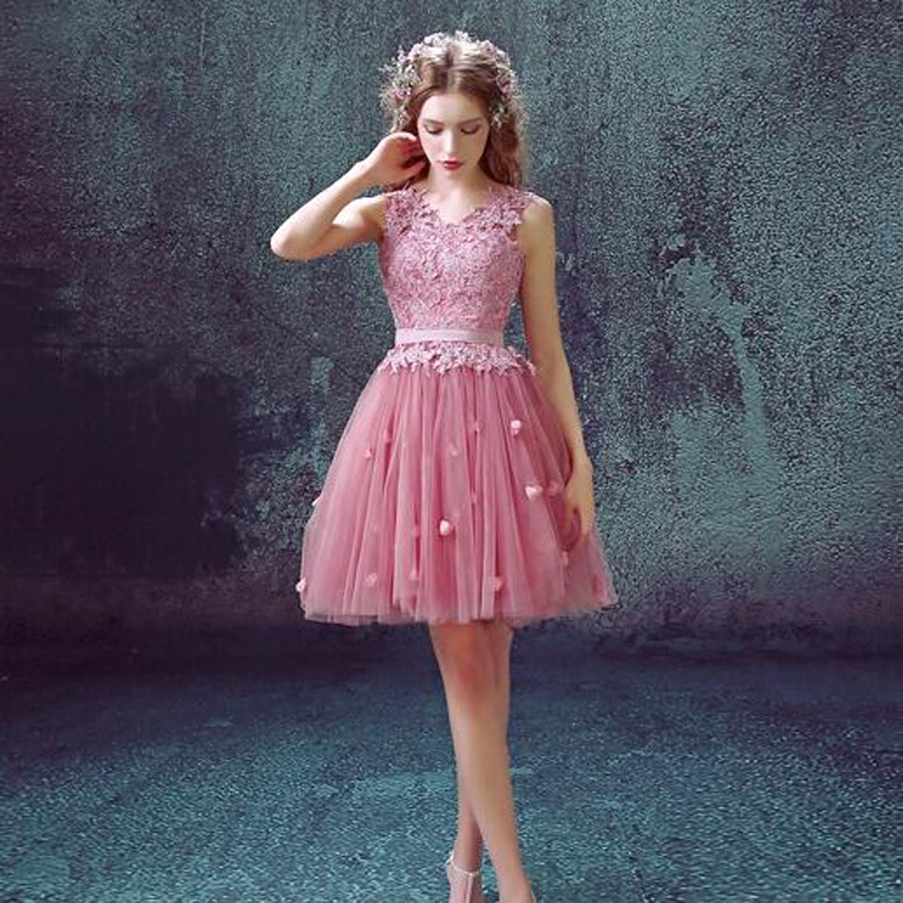 New style Short Chiffon Cocktail Dress a line dress Pink v neck Cute ...