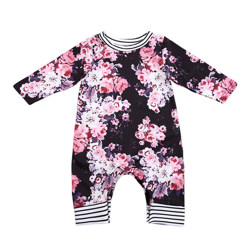 Newborn Infant Baby Girl Long Sleeve Rompers Playsuit Jumpsuit Outfit Clothes 0-24M