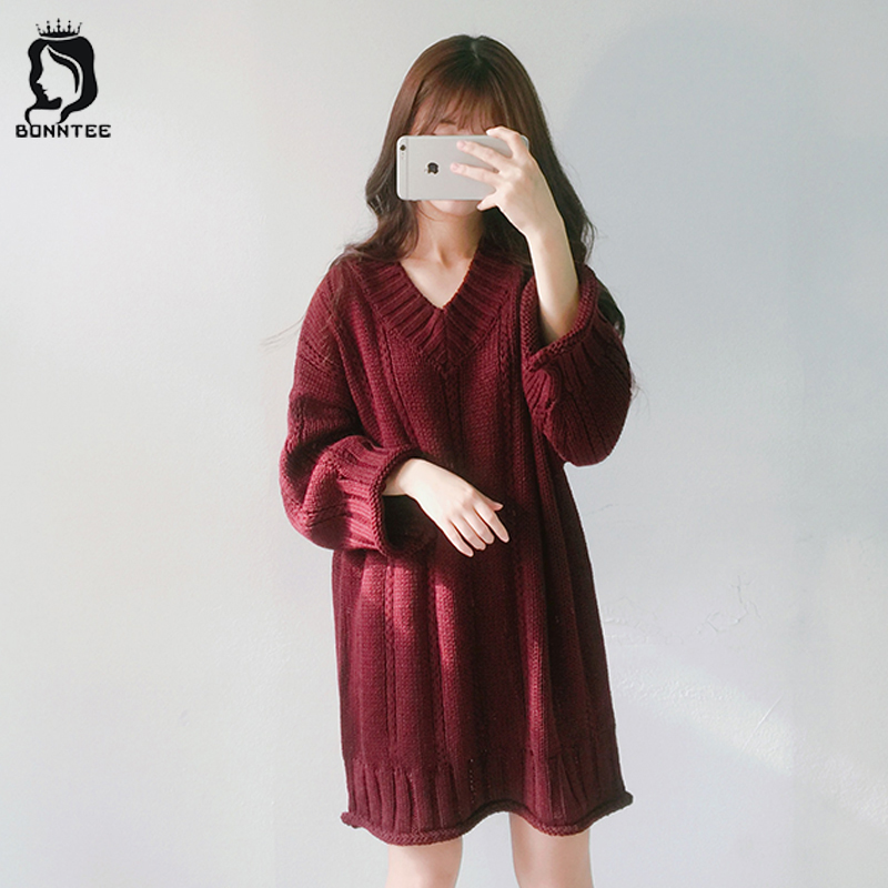 Casual Women Long Sleeve Dress Female V-neck Solid Loose Dresses Womens Korean Style Students Knitted Full Females New Trendy dark blue round neck plaid womens long sleeve dress