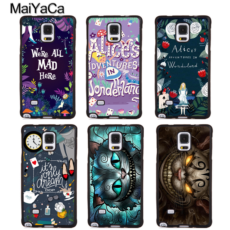 MaiYaCa Alice in Wonderland Cheshire Quotes Soft Rubber Phone Cases For Samsung S6 S7 edge plus S8 S9 plus Note 4 5 8 Back Cover