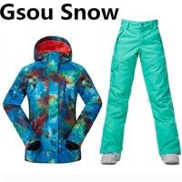 Free Shipping GSOU Ski Jacket Women Winter Suit Cotton Pad Warm Waterproof Ski Suit Women Outdoor