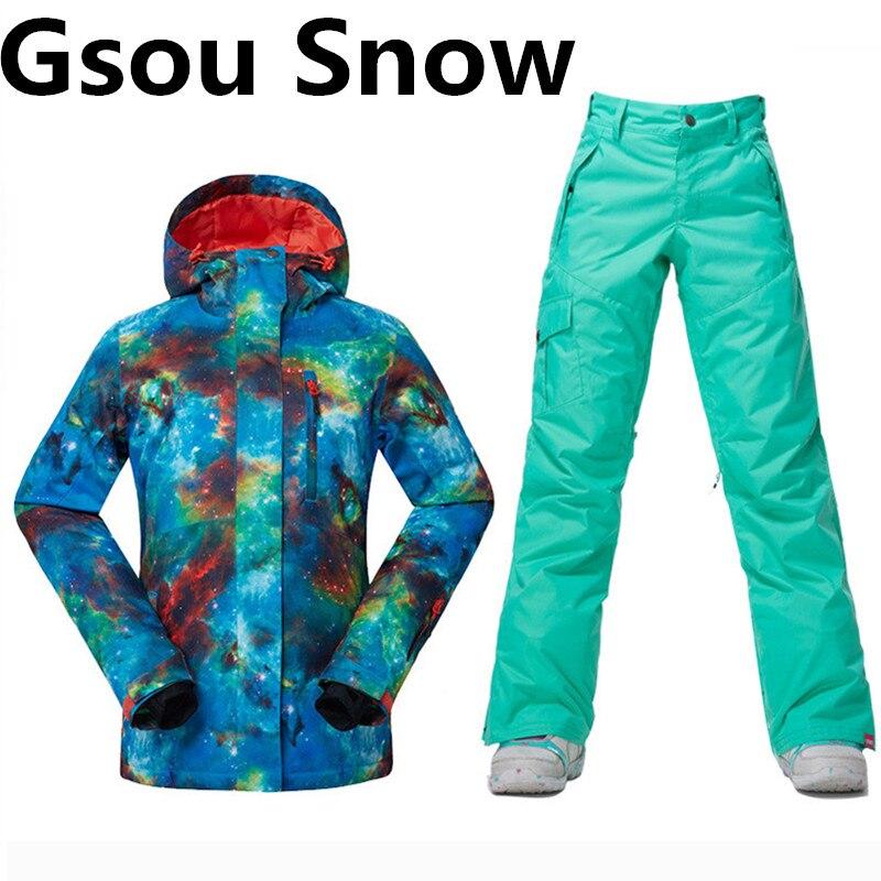 Traje de esquí de las mujeres almohadilla de algodón cálido impermeable gsou sno