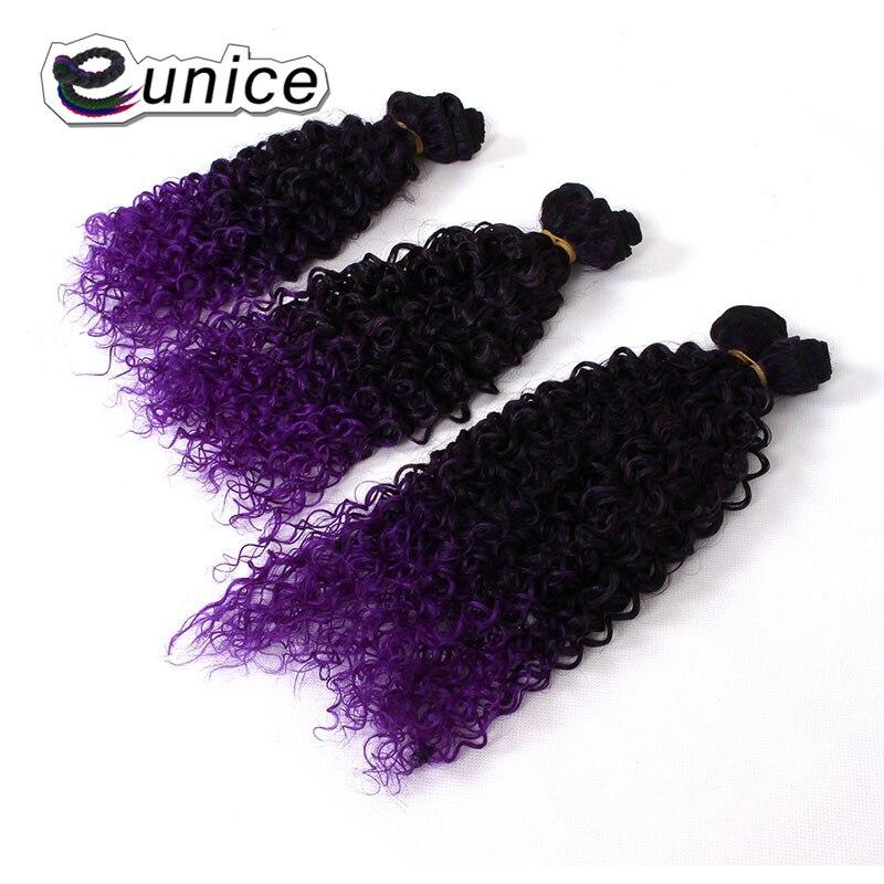Темно-фиолетовый 6 шт./лот Ombre странный вьющиеся Синтетические пряди для наращивания волос 14 16 18 дюйма Цветной Юнис уток волос высокого тем...