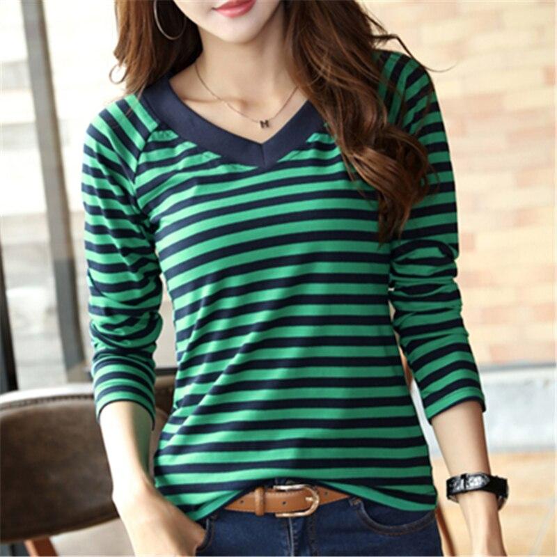 Soperwillton T-Shirt femmes 2019 chemises à manches longues printemps décontracté rayé femme t-shirts femmes coton Camisa Feminina