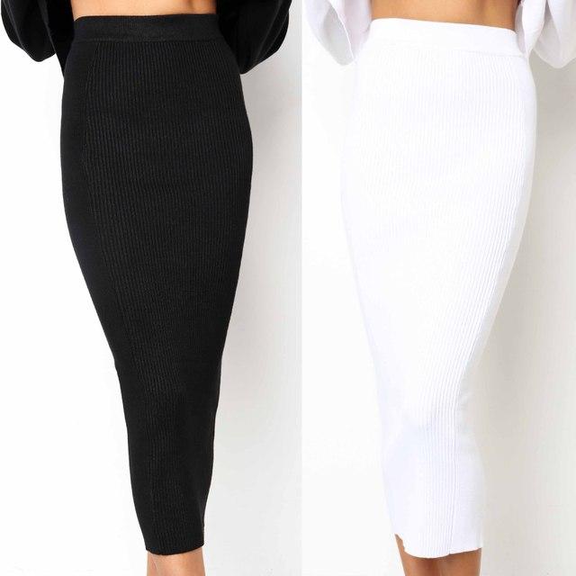 LOSSKY סרוג 2018 סתיו Bodycon ארוך חצאית סקסית שחור לבן גבוה מותן הדוק נשים מקסי אלגנטי המפלגה מועדון ללבוש עיפרון חצאיות