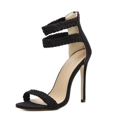 2018 spring new foot strap classic word with thin open with toe sexy high heel sandals 35-40 yards