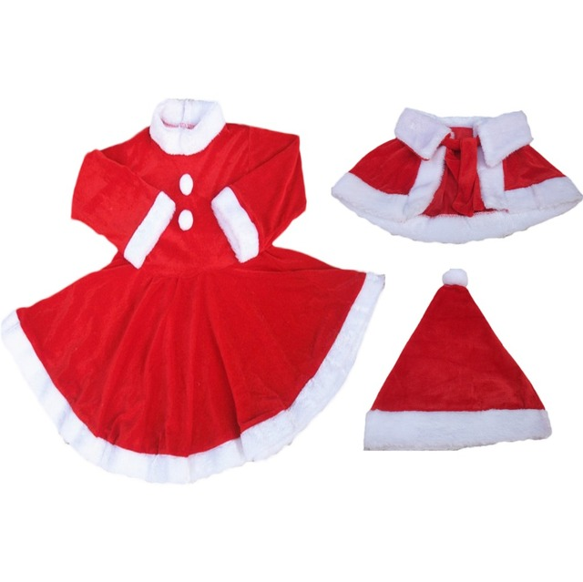 8e5e0b6140eca US $3.64 40% OFF|Baby Girls Christmas Clothes Santa Baby Dress Warm shaw  Children Fancy Costume Winter Clothing Suits Give the hat -in Clothing Sets  ...