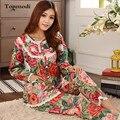 Пижамы для женщин С Длинным рукавом Тканые Хлопка Пижамы Цветы Дамы Пижамы Установить Кружева Пижамы