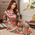 Pajamas for women Long sleeve Woven Cotton Sleepwear Flowers Ladies Pajama Set Lace Pyjamas
