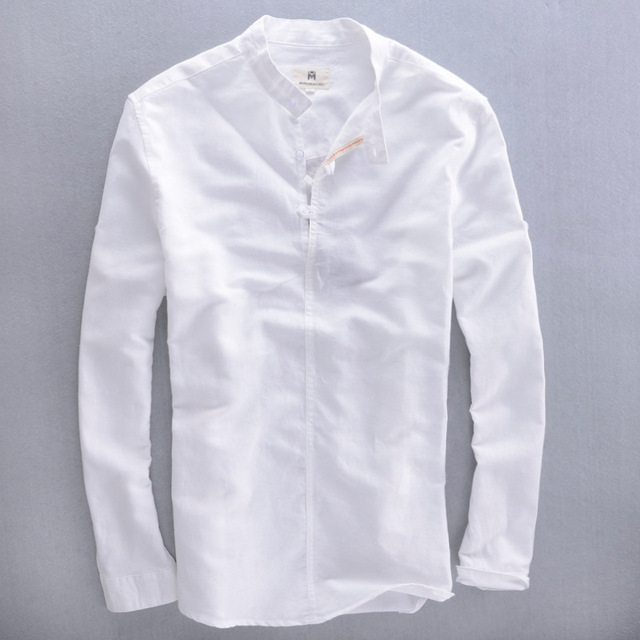 Top 2016 men's mandarin collar long sleeve white linen shirt men  VT53