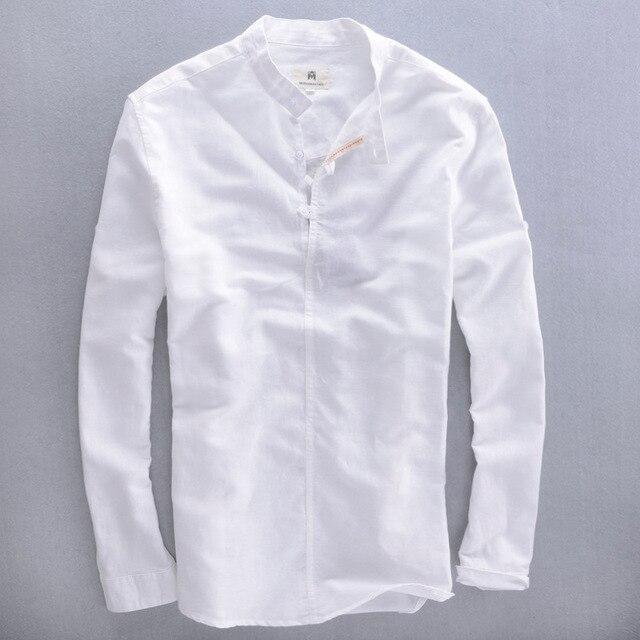 e1d9569a7b81d9b 2016 Мужской воротник-стойка с длинным рукавом белая льняная рубашка мужская  летняя льняная хлопковая рубашка