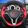 Hand-stitched Black Suede Red Leather Car Steering Wheel Cover for Mercedes Benz B180 2012