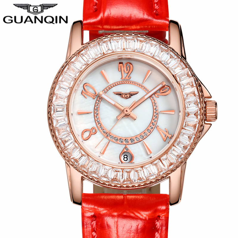 ФОТО relogio feminino Watches Women Fashion GUANQIN Gold Case Red Leather Quartz Watch Luxury Ladies Diamond Wristwatch montre femme