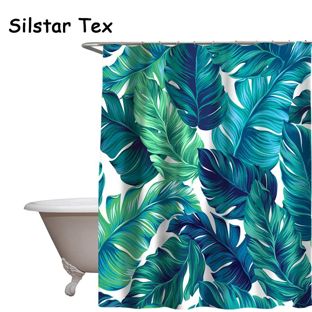 Silstar Tex Green Leaves Shower Curtain Digital Printing Waterproof Bathroom Decoration Polyester Eco Friendly Rideau De Douche