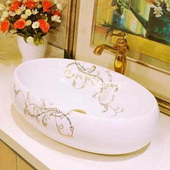 JT-9230 Countertop Sinks Ceramic Art Basin Ceramic High-quality Home Counter Top Wash Basin Household Bathroom Sink Washbasin stately gold silver color art porcelain ceramic bathroom sinks