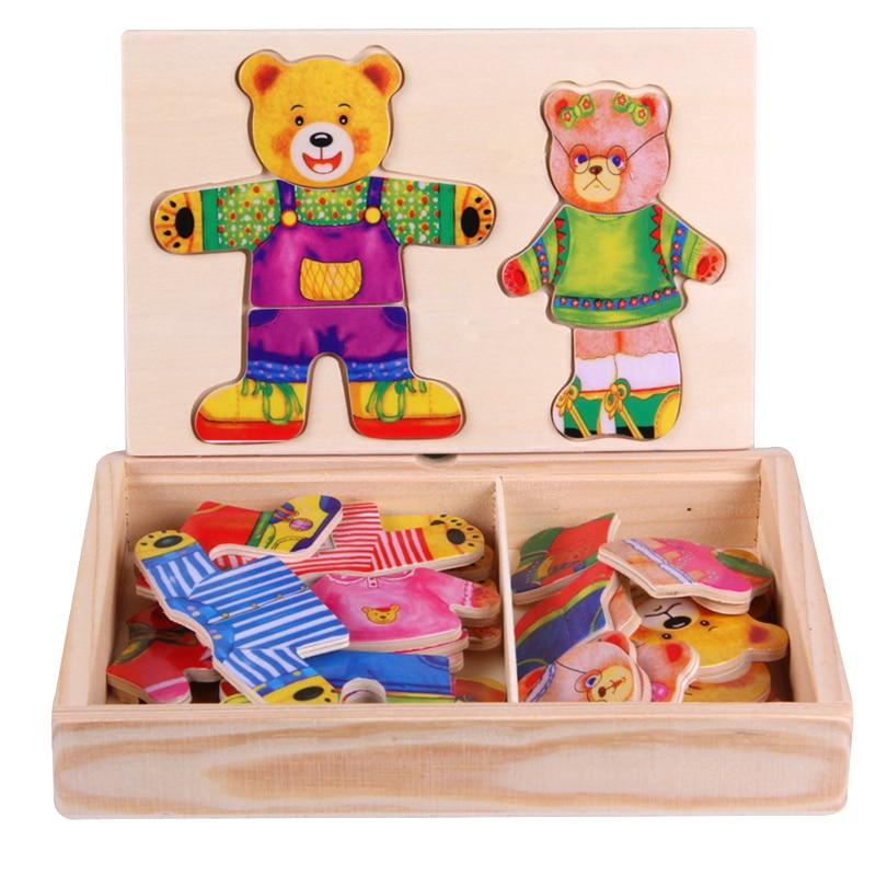 Montessori minat mainan intelektual Mainan pendidikan kanak-kanak 2 Bear pakaian untuk melatih Kemahiran Kanak-kanak Teka-teki Mainan Anak