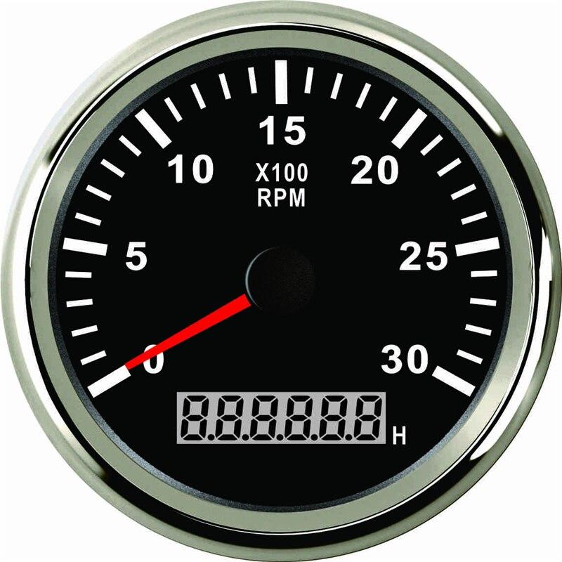 Tr/min heure 85 mm moteur compte-tours compte-tours 0-3000 tr/min avec LED voiture camion bateau hors-bord 12 V/24 V avec rétro-éclairage - 3