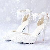 Weiß Rot Rosa Brautschuhe Weißer Spitze Blumen Brautkleid schuhe Spitz Hochzeit Schuhe High Heels Ankle Straps Party schuhe