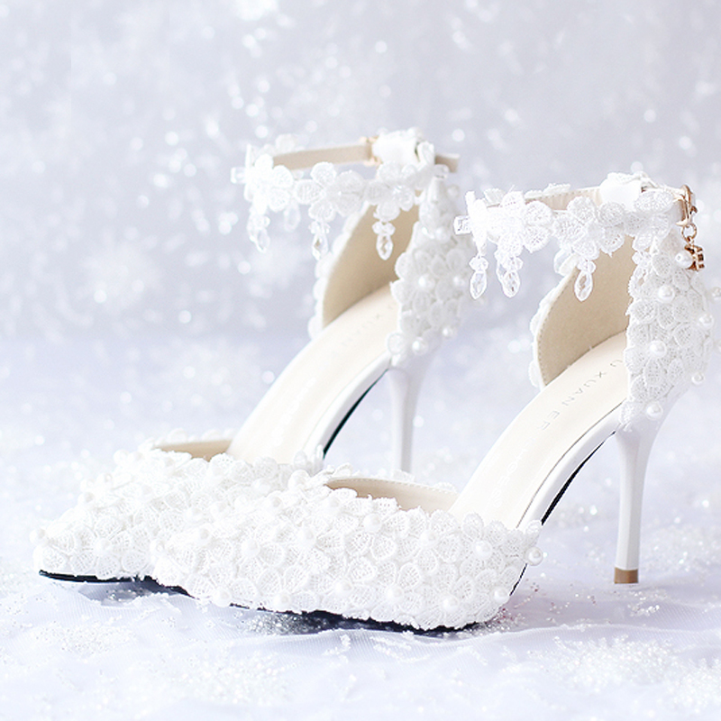 White Red Pink Bridal Shoes White Lace Flower Bridal Dress Shoes Pointed Toe Wedding Shoes High Heels Ankle Straps  Party Shoes цены онлайн