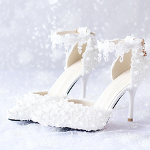White Red Pink Bridal Shoes White Lace Flower Bridal Dress Shoes Pointed Toe Wedding Shoes High Heels Ankle Straps  Party Shoes