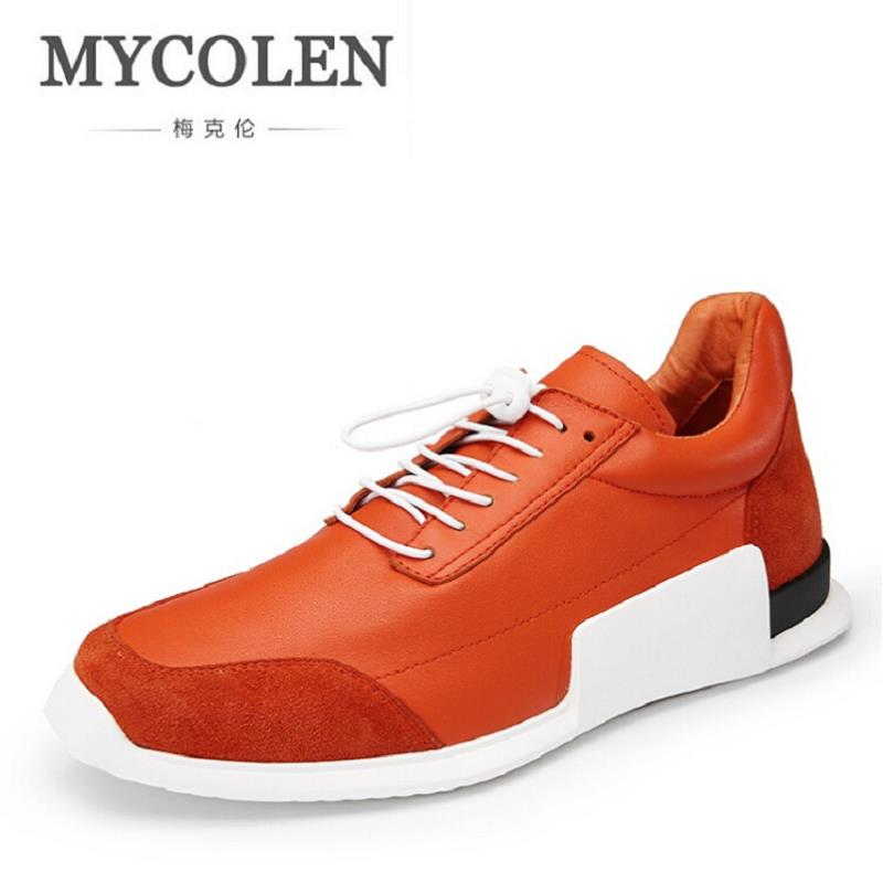 MYCOLEN High Quality Men Sneakers New Classic Orange Shoes Black Lace UP Solid Men Casual Shoes Flats High Top Men Shoes