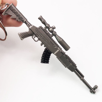 12cm FPS PUBG Game 7.62mm Bullet Weapon Model SKS Key Chain Sniper Rifle Alloy Gun Keychain for Military Collection