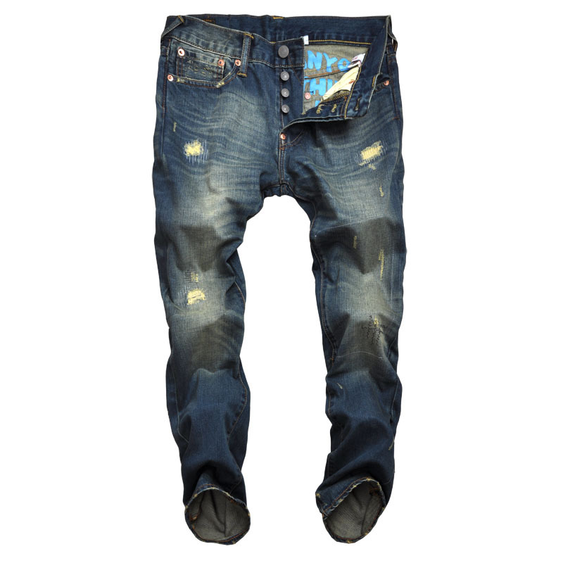 ФОТО Autumn and winter new Latin wear broken embroidery small fish printed men's self-cultivation jeans